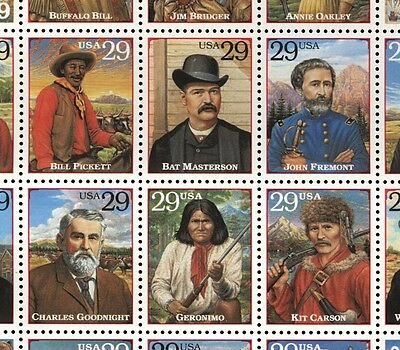US Scott 2869 29c Legends of the West  Mint NH pane of 20
