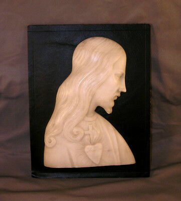 Old Italian Carved White Marble Relief of Sacred Heart of Jesus Plaque Signed