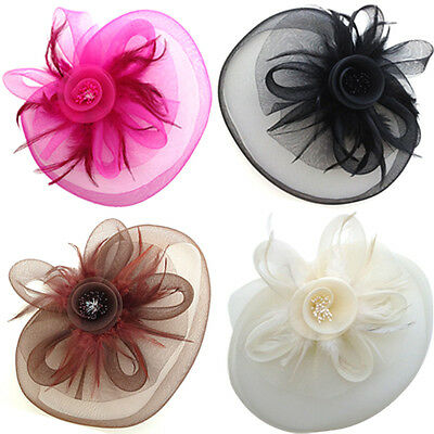 New Womens Flower Feather Large Mesh Veil Fascinator Hat Clip Wedding Proms Race