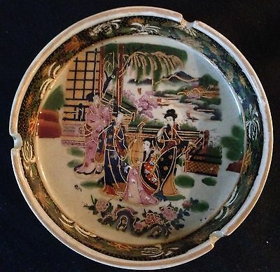 "Vintage Chinese Porcelain Ash Tray. Beautiful Chinese  Decor Appr 6"" Very Nice"