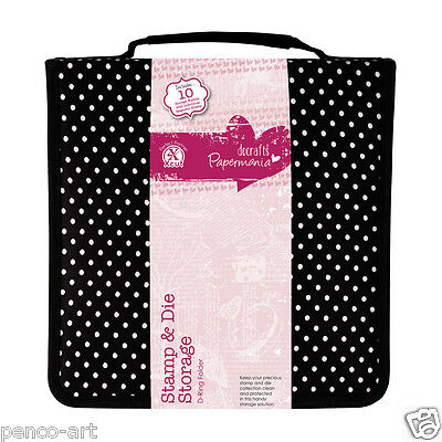 Papermania Liquorice Dot carry case. Store sheet stamps & your die cutters. Dies