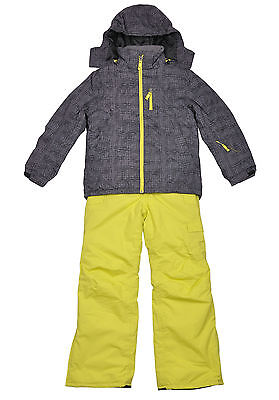 YouthBig Kids Boys Ski/Snow suit Jacket/Pants Grey/YellowGreen SZ9-16 waterproof