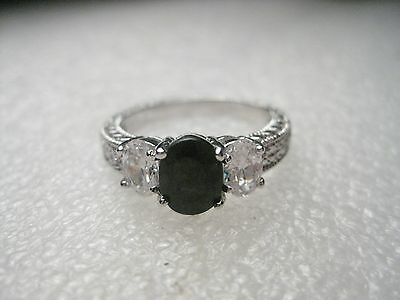 fd30953d8 Stunning Black & Clear Ice Ring, Lots of Bling, Silvertone, sz 8.25 -