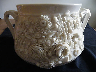 "ANTIQUE IRISH BELLEEK 12""x7""JARDINIERE/VASE- 2nd black mark--RARE and Beautiful"