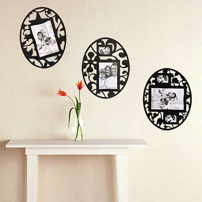 Set of 3 Wall Room Decoration Removable Reusable Photo Frame Stickers Black