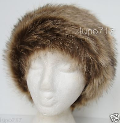 DARK RED MIX FLUFFY FAUX FUR HEADBAND HAT SKI EAR WARMER MUFFS NEW ONE SIZE 60CM