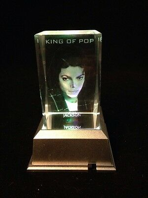 Michael Jackson- 3D laser crystal block with LED base
