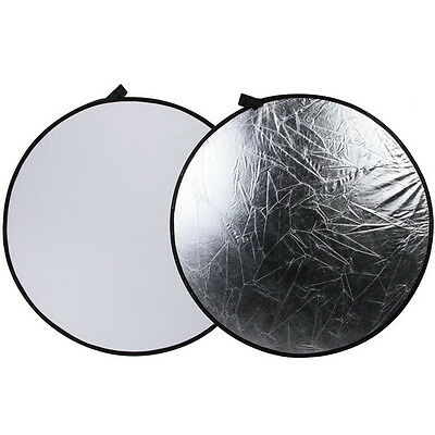"""110cm 43"""" 2 in 1 Light Mulit Collapsible Disc Photography Reflector Silver White"""