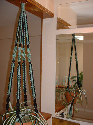 Macrame Plant Hanger BLACK and SAGE 8 BLACK BEADS