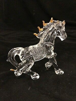Hand made Glass Horse Figurine With Gold Trim