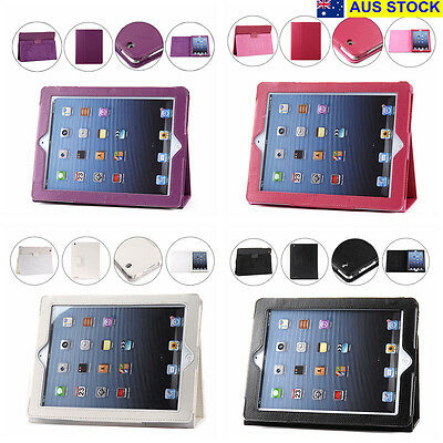 Apple iPad 2 3 4 Case Cover Protector Stand PU Leather 4 Colors (C12,74,50-4,26)