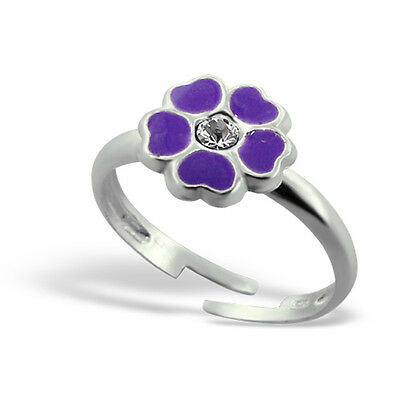 Girls Sterling Silver Purple Flower Ring - Adjustable Ring Children 925