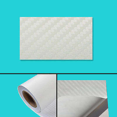 152 x 30 cm FILM VINYLE CARBONE 3D BLANC THERMOFORMABLE CAR WRAP TUNING DISCOUNT