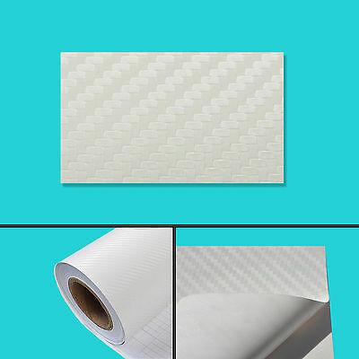 152 x 200 cm FILM VINYLE CARBONE 3D BLANC THERMOFORMABLE CAR WRAP TUNING