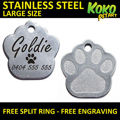 Stainless Steel Paw Dog Pet ID Tag Personalised Engraved Large 35mm + Free Ring