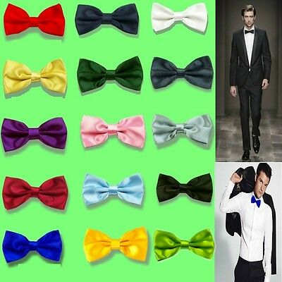 Tuxedo Mens Plain Bowtie Groom Wedding Party Pre tied Solid Satin bow tie