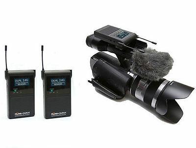 ROWA 2.4GHZ Dual Channel Wireless Stereo Microphone For Camera Video Camcorder