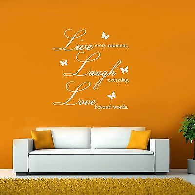 Live Laugh Love Butterfly Vinyl Wall Sticker Art Decals Decor Quote Decoration