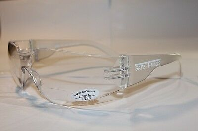Safety Glasses Bifocal Clear Shatterproof UV100 Workwear Reading Magnifier +2.00