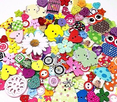 160 Roseys Craft Shop Amazing Button Random Mix Resin and Wooden Craft Assorted