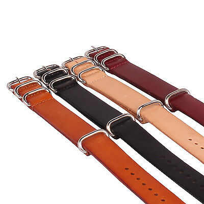Nato Watch Black Genuine Leather Watchband Wrist Strap Band 18mm 20mm 22mm 24mm