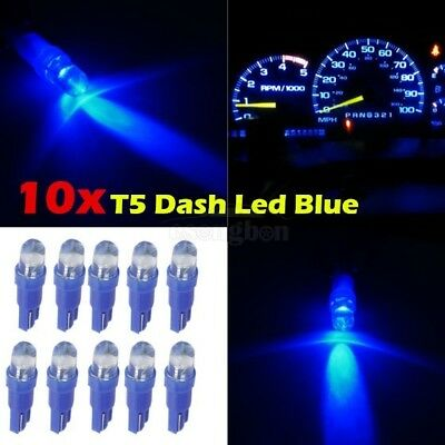 10x Blue LED Dashboard Instrument Cluster Panel Light Bulbs T5 Wedge 37 73