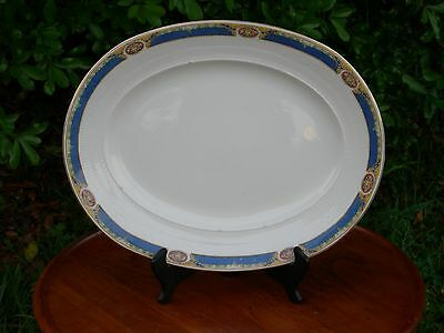 W H Grindley & Co. Georgian Ivory English Ironstone Large Platter Indigo Border