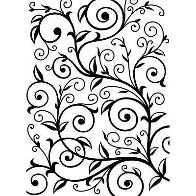 Darice Embossing Folder ~VINE PATTERN ~ Scroll Leaves Background A2 1219-136