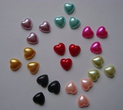 50 PEARL HEART GEMS/EMBELLISHMENTS FLAT BACKED 9mm - 8 COLOURS OR MIXED