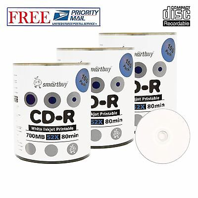 300 Pack Smartbuy CD-R 52X 700MB White Inkjet Printable Blank Recordable Discs