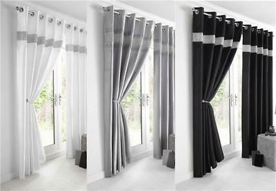New Diamante Faux Silk Lined Curtains - Black Silver Or White Eyelet Curtains