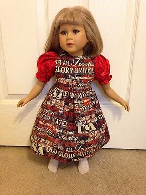Patriotic Words  Dress With Red Sleeves for My Twinn  ~ Summer Fun!