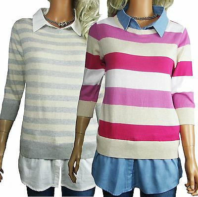 Womens Striped Jumpers & Shirt Size 12 - 20 Plus Ladies Pink Blue Or Cream Grey