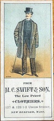Victorian Trade Card: Man Wears an Overcoat, Top Hat - M.C.Swift & Son Clothing