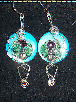Egyptian Winged SCARAB & Mother of Pearl Earrings Sterling Silver