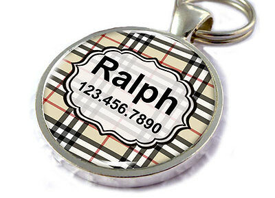 Plaid Dog Tags for Dogs Personalized for Dogs & Cats Checker Tan and Black