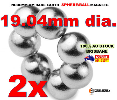 2X Spheres Balls Neo Rare Earth Magnets 19.04mm dia. N42