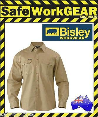 BISLEY WORKWEAR - KHAKI Cotton Drill Work Shirt Safety - Long Sleeve BS6433