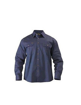 BISLEY WORKWEAR - NAVY Cotton Drill Work Shirt Safety Long Sleeve BS6433