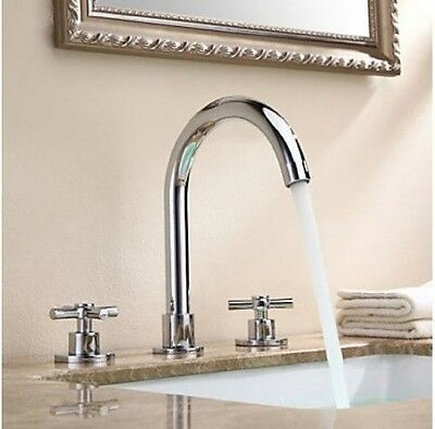 Solid Brass Widespread Bathroom Sink Faucet Chrome Finish Dual Handles Mixer Tap