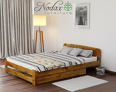 Wooden Pine 4ft6in Double Bed Frame & Slats**with choice of Underbed Drawer