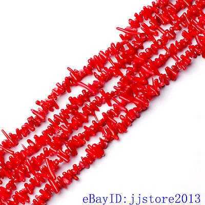 8-12mm Natural Smooth Red Coral Branch Shape Gemstone Loose Beads Strand 15""