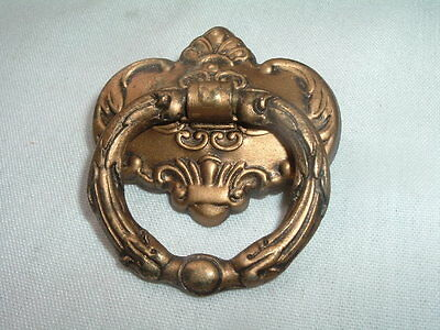 Vintage Art Nouveau Small Brass Drawer Pull Knob
