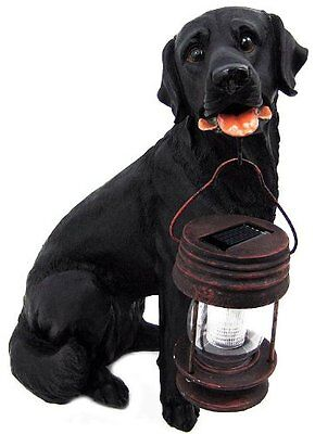Black Labrador Dog With Solar Lantern; Great Garden Statue and Lawn Ornament