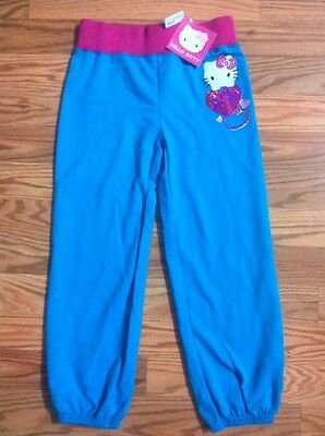New Girl's HELLO KITTY POP TURQ Lounge Sweat Pants- Size 6- Pink & Blue- Pz Read