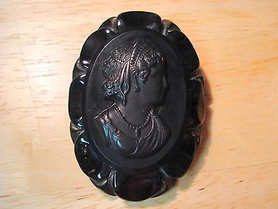 Vintage Black Celluloid Cameo Brooch Free US Shipping