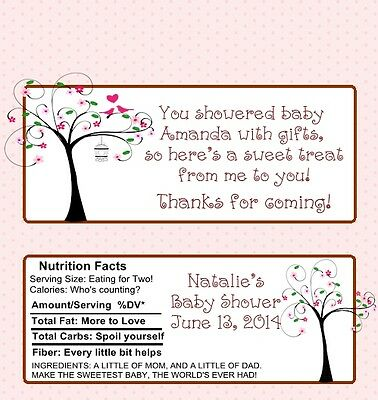 25 Personalized Pink Blooming Baby Shower Candy Bar Wrappers