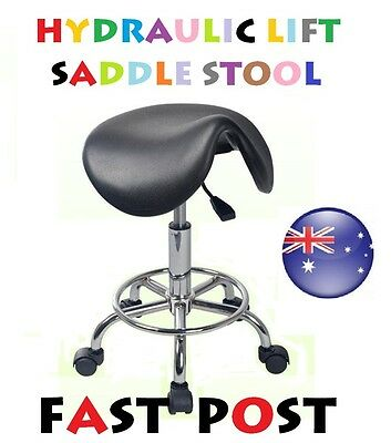 SADDLE Stool Hydraulic GAS Lift Bar Chair Salon Massage Spa Nail Furniture Black