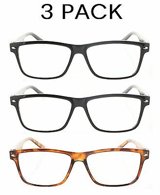 3 Pack Reading Glasses Wayfarer Mens Womens 1.00-4.00
