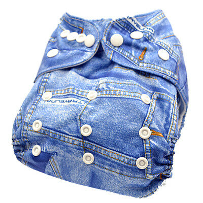 Modern Cloth Nappies Resuable Nappy Dispers Adjustable Jean Jeans demin (D5)